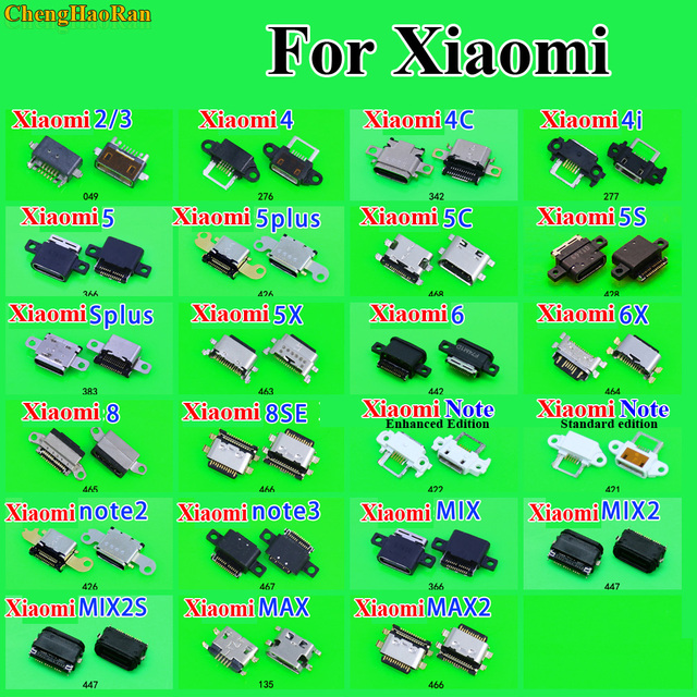 ChengHaoRan Repair Parts Micro USB Charging Socket for Xiaomi 2 3 4 4C 4i 5 Plus 5C 5S Plus 5X 6 6X 8 SE Note 2/3 Mix 2 2S Max 2