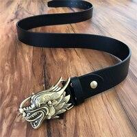 Bronze Chinês Dragão Fivela de Cinto de Homens De Couro Genuíno Belt Ceinture Cinturones Hombre Homme Masculino Cinto Cinta Calça Jeans Cowboy MBT0360