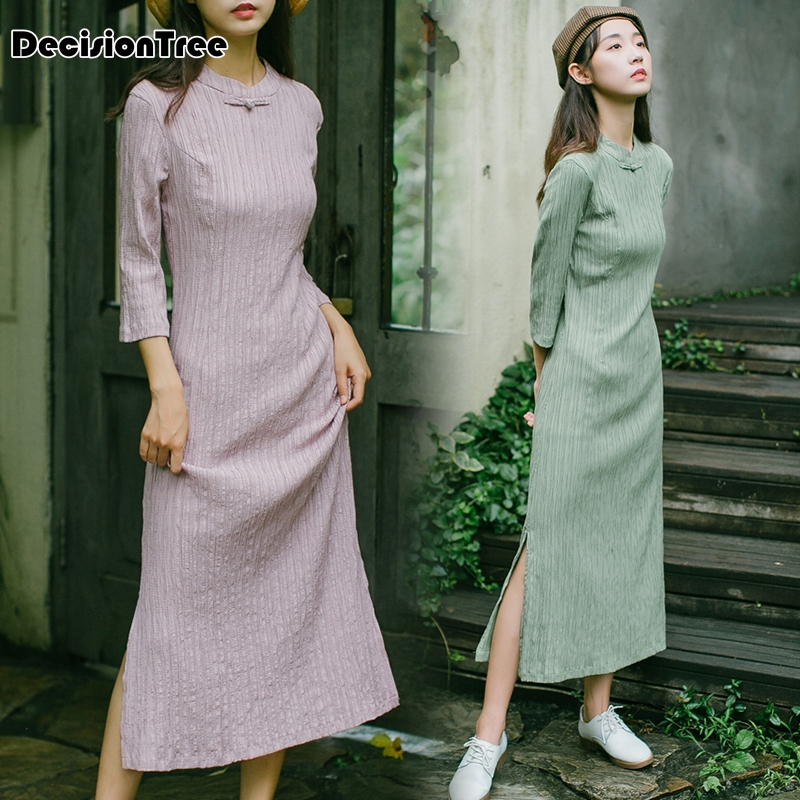 2020 Chinese Traditional Dress Women Chinese Dress Qipao Side Slit Cheongsam Chinese Style Modern Oriental Dresse