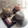 New Women Fashion Sun Hats Korean  Bow Split Brim Decor Hat Lady Summer Vacation Beach Party Hats Sweet Cute Female Elegant Caps