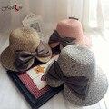 Nuevo de Las Mujeres de Moda Los Sombreros de Sun de Corea Del Arco Dividida Decoración Sombrero de Ala señora Summer Vacation Beach Sombreros de Fiesta Dulce Linda Mujer Elegante Tapas
