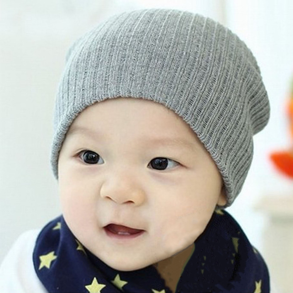 2018 Cute Newborn Baby Hat For Girls Knitted Baby Caps For Boys Baby Beanie Candy Color Crochet Pattern Toddler Children Hat