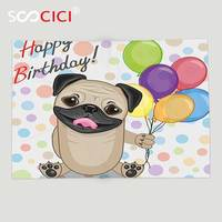 Custom Soft Fleece Throw Blanket Birthday Decorations for Kids Animal Cute Dog Smiling Pug with Party Balloons Greeting Card