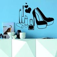 Wall Decals Beauty Salon Shoes Lips Nail Heart Vinyl Sticker Decor Murals