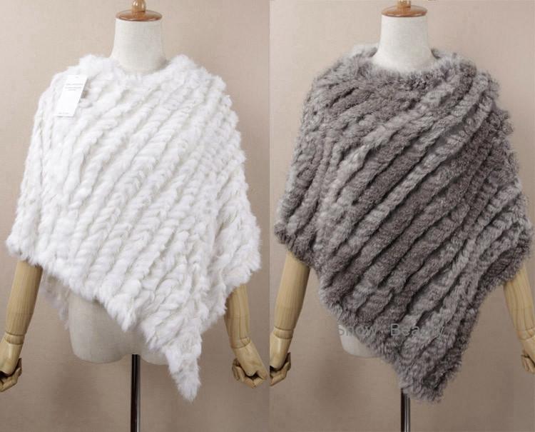 natural real knitted rabbit fur poncho shawl (33)
