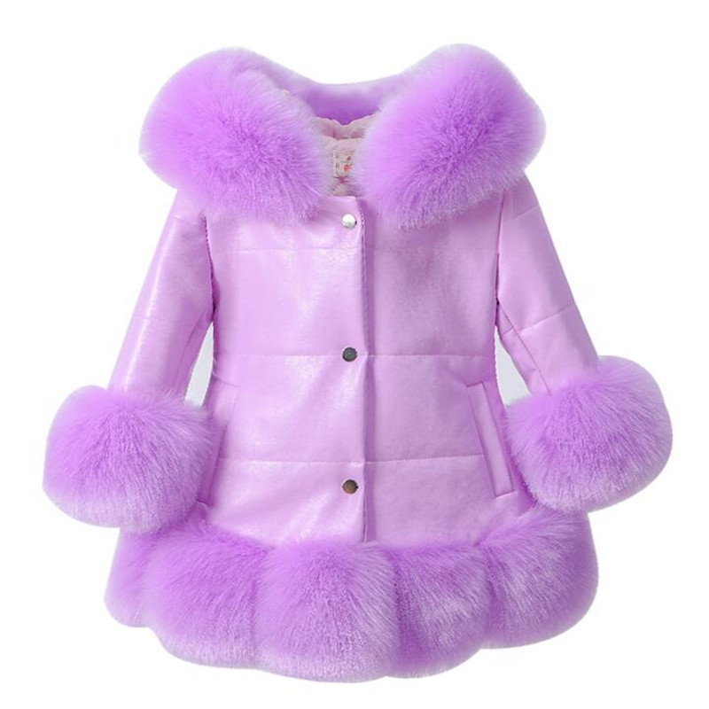 Kids Girl's PU Leather Patchwork Fox Faux Fur Collar Jacket Coat Princess Winter Thicken Outerwear Fur Coat For 2 - 10 Years princess sweet lolita parkas in the winter of new women s original japanese sweet fox fur collar long sleeved coat c22cd7219