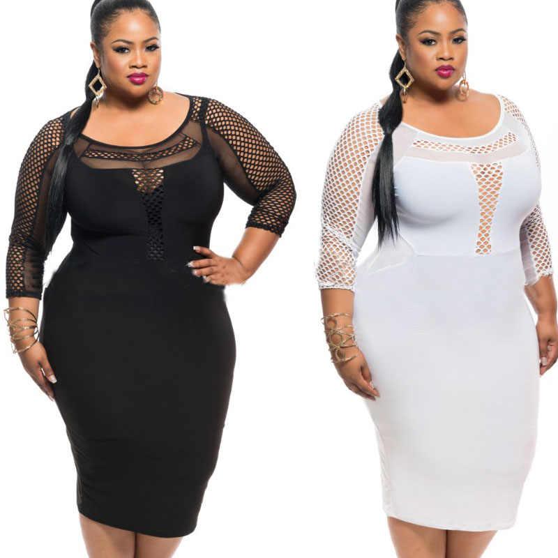 575cdb48e53 Detail Feedback Questions about 2016 XL XXL XXXL Sexy Women Plus Size Dress  Black White Long Sleeve Mesh Lace Up Midi Pencil Dress Elegant Party Dress  ...