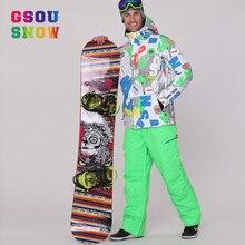 2017 Gsou Snow Men Ski Suits Super Warmth Skiing Snowboard Jacket Pants Sets Windproof Waterproof Winter Outdoor Sports Ski Wear