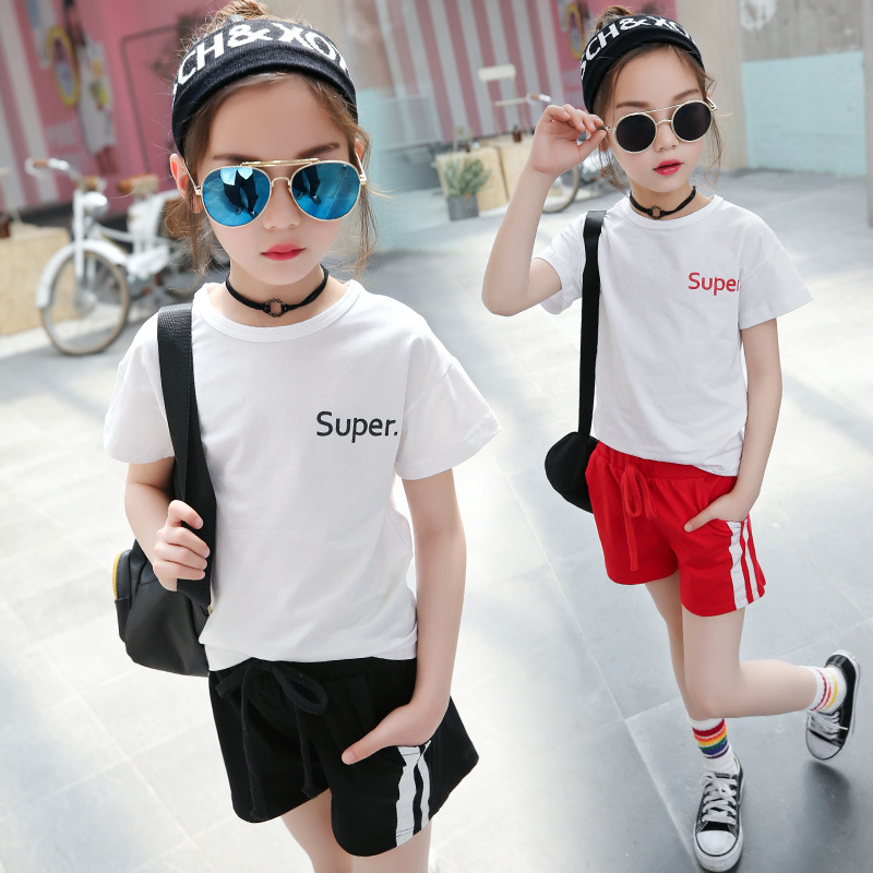 Teen Girls School Tracksuit T-shirt + Short Pants Kids Clothing Children Tracksuit School Outfits Girls Summer Sports Suit H164