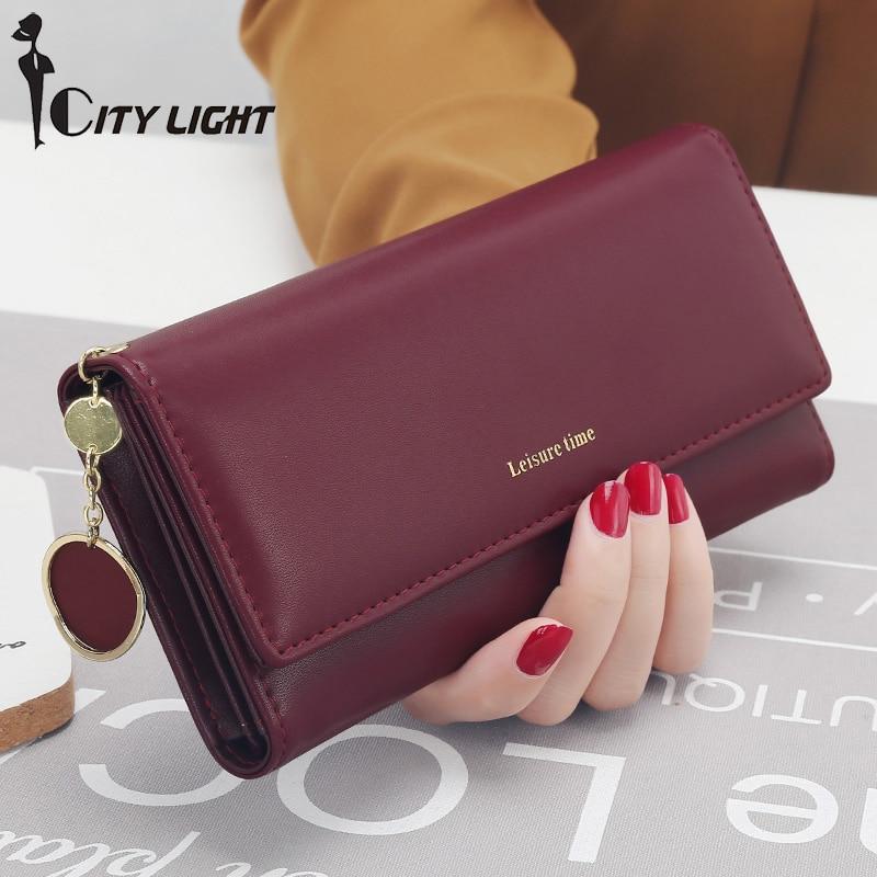 ใหม่แฟชั่นผู้หญิงกระเป๋าสตางค์ยาวสไตล์ Multi-functional กระเป๋าสตางค์สด PU หนังหญิงคลัทช์