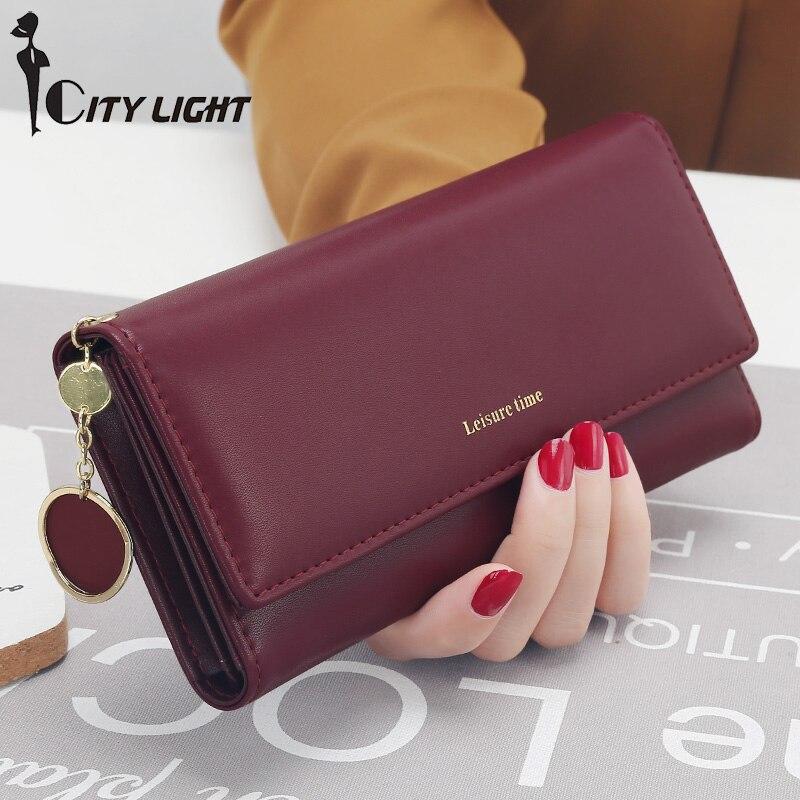 Nueva moda mujeres carteras de estilo largo Multi-funcional cartera monedero fresco PU cuero mujer embrague tarjetero