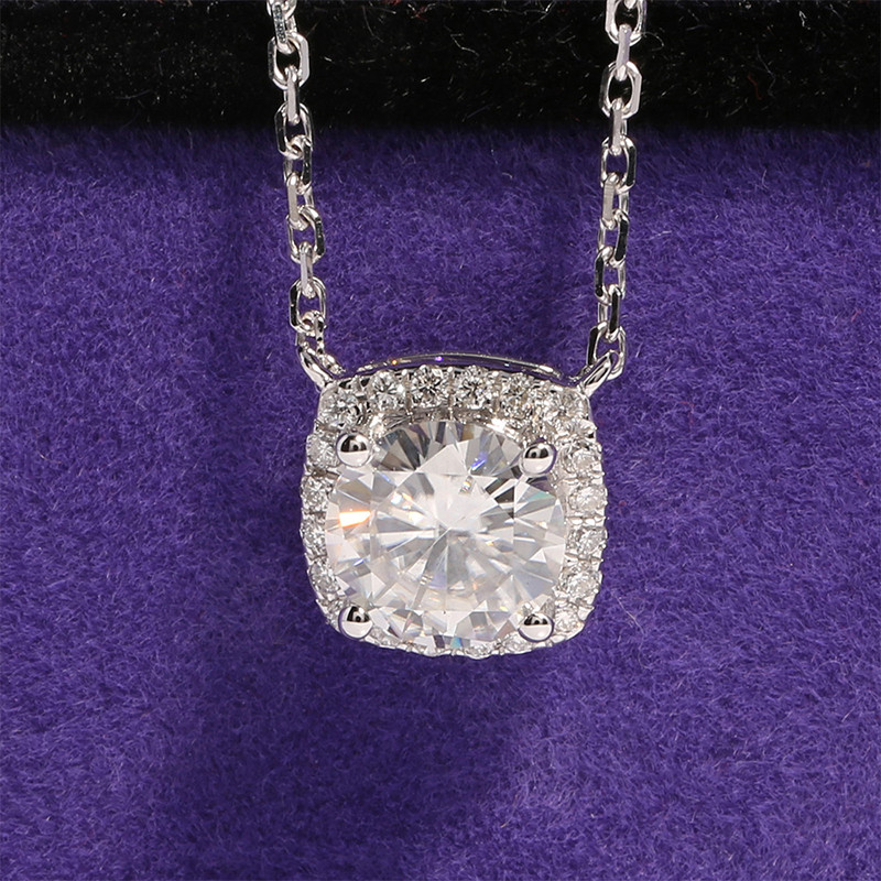 Solid 18K 750 White Gold 1 Ct F Color Round Brilliant Lab Grown Moissanite Diamond Halo Pendant Necklace With Accents For Women цены