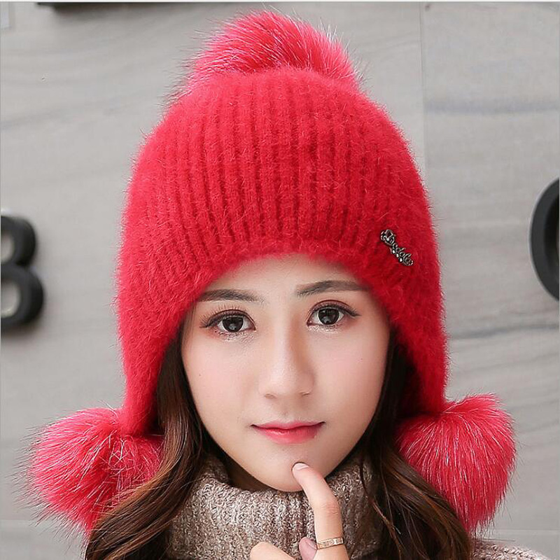 2018 Winter Hats For Women Hat Winter Rabbit's Hair Female Warm Ear Cap Casual All-match Sweet Knitted Hat