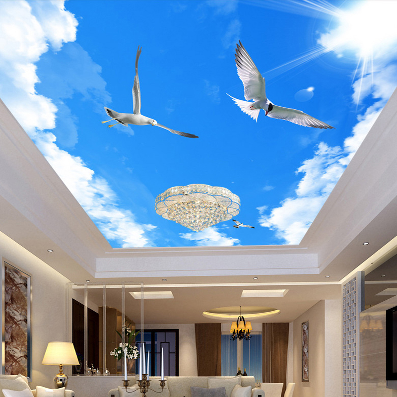 Custom 3D Mural Wallpaper Home Decor Blue Sky White Clouds Flying Bird Ceiling Murals Living Room Wallpaper For Bedroom Walls 3D custom 3d stereo ceiling mural wallpaper beautiful starry sky landscape fresco hotel living room ceiling wallpaper home decor 3d