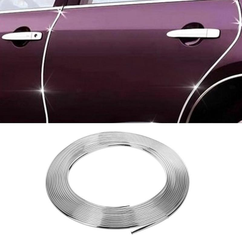 Door Edge Guard Mouldings Trim 10Ft 300cm Chrome Silver Car DIY Protector Strip