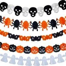 2019 gran calidad Halloween fiesta decoración araña calabaza miedo bruja Garland papel Halloween casa embrujada utilería útil