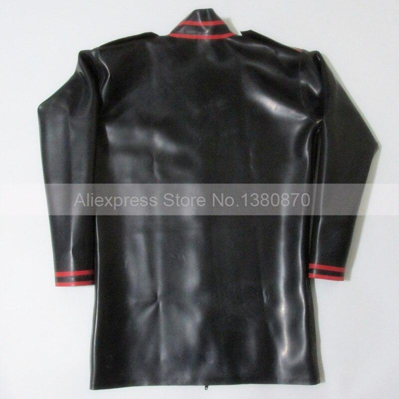 Черно красная рубашка из латекса с резиновой подкладкой и длинными рукавами для мужчин, боди Zentai с молнией спереди, S LSM012 - 5