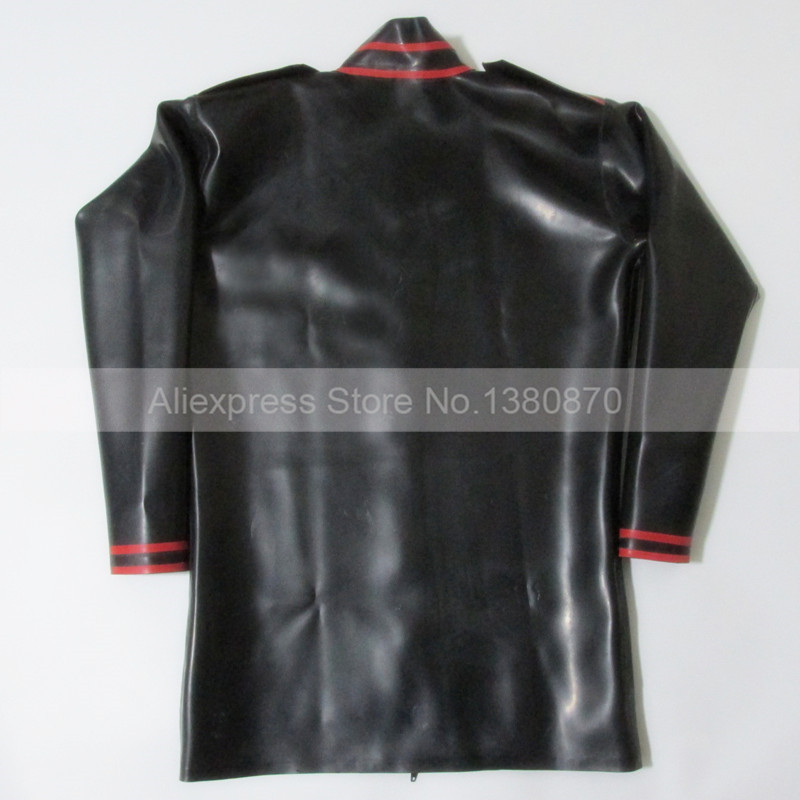 Black and Red Trims Latex ManTop Shirt Rubber Long Sleeves Male Teddies Bodysuit Zentai with Front Zip S LSM012 - 5