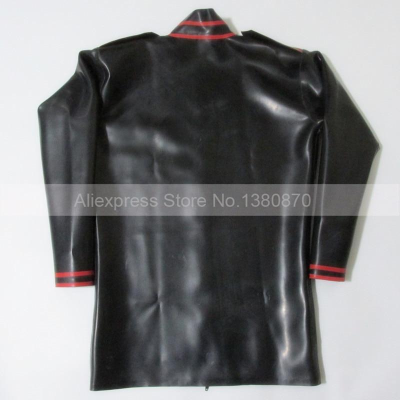 Zwart en Rood Versieringen Latex ManTop Shirt Rubber Lange Mouwen Mannelijke Teddybeer Bodysuit Zentai met Ritssluiting S LSM012 - 5