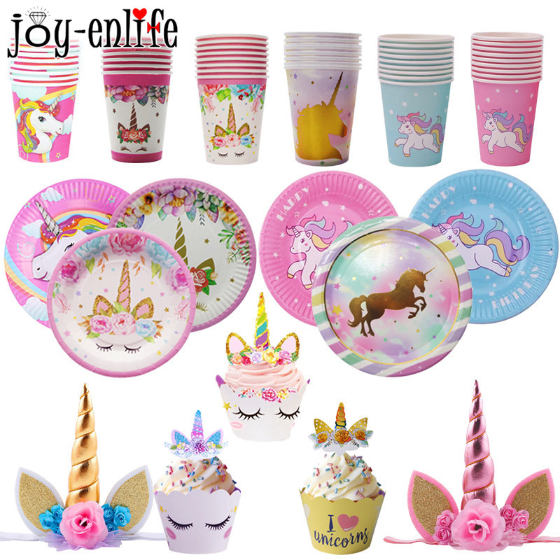 1set Birthday Party Decoration Gold Pink Blue Unicorn Horse Tableware Sets Kids First 1st Baby