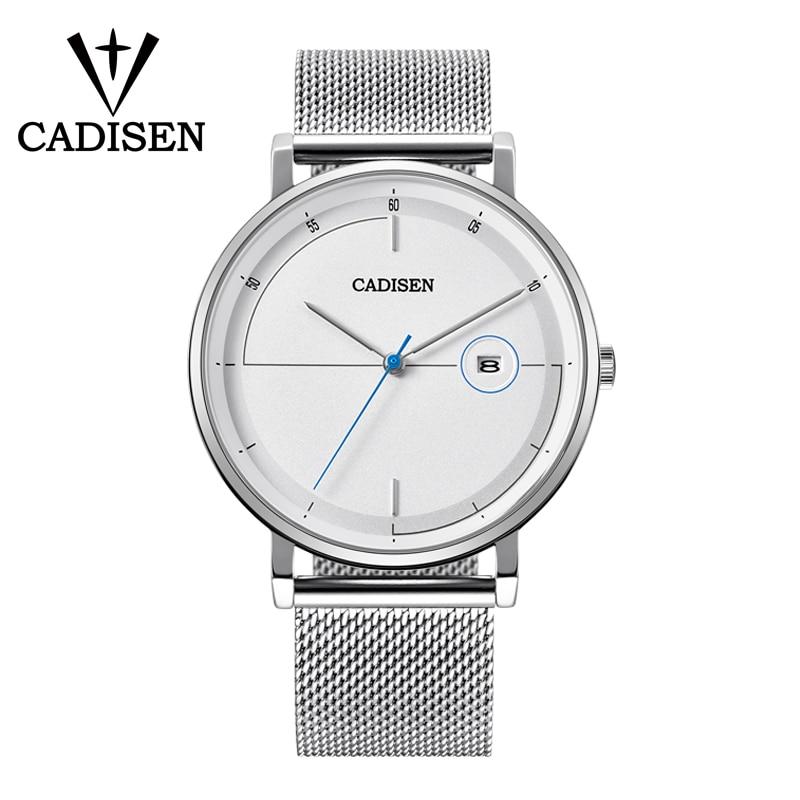 CADISEN Ultra-thin Slim Mesh Stainless Steel Belt Men's Brand Casual Fashion Quartz Watch Fitness Sports Depth Waterproof Watch