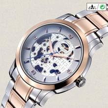 2017 Dignity Hcandice Men's Fashion Skeleton Mechanical Stainless Steel Watches Gold JUN 8