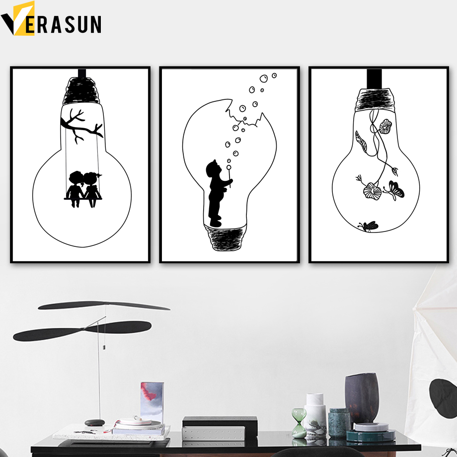 Us 3 3 50 offcartoon lamp flower girl boy wall art canvas painting nordic posters and prints black white wall pictures baby kids room decor in