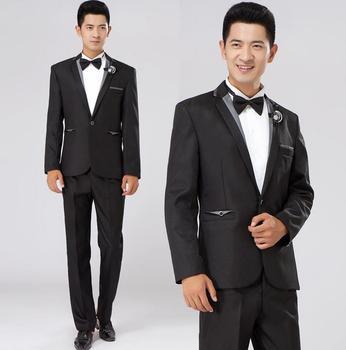 Black performance formal dress male suit set men suit latest coat pant designs mens suits wedding groom suit + trousers + tie