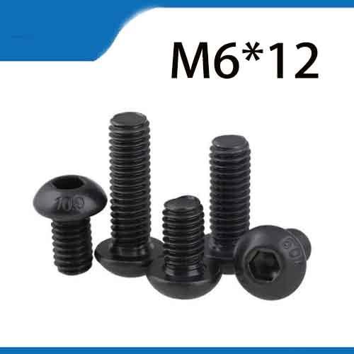 Free Shipping 50pcs M6x12 mm M6*12 mm yuan cup Half round pan head black grade 10.9 carbon Steel Hex Socket Head Cap Screw 20pcs m3 6 m3 x 6mm aluminum anodized hex socket button head screw