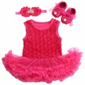 Bebê Roseta Tutu vestidos de festa de casamento Sapatos de Strass Tiara Headband Set, vestido de menina bebe, roupas infantis meninas