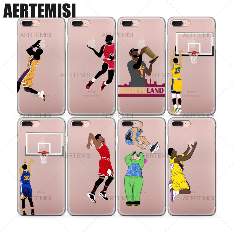 Phone Cases NBA Basketball Players Kobe Bryant Aaron Gordon D'Angelo Russell Clear TPU Case Cover for iPhone 5 5s SE 6 6s 7 Plus
