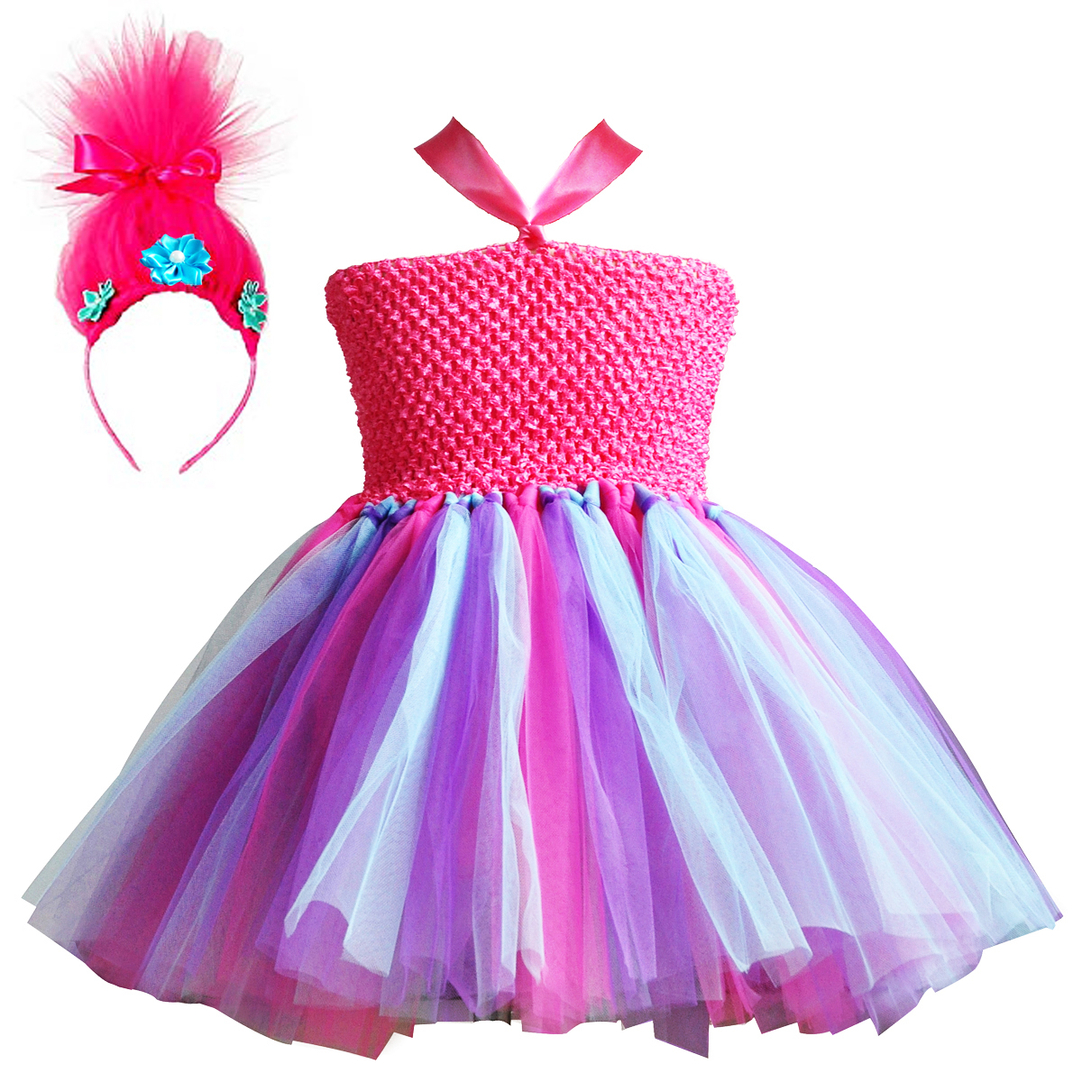 Trolls Little Girls Poppy Ruffle Shorts Set