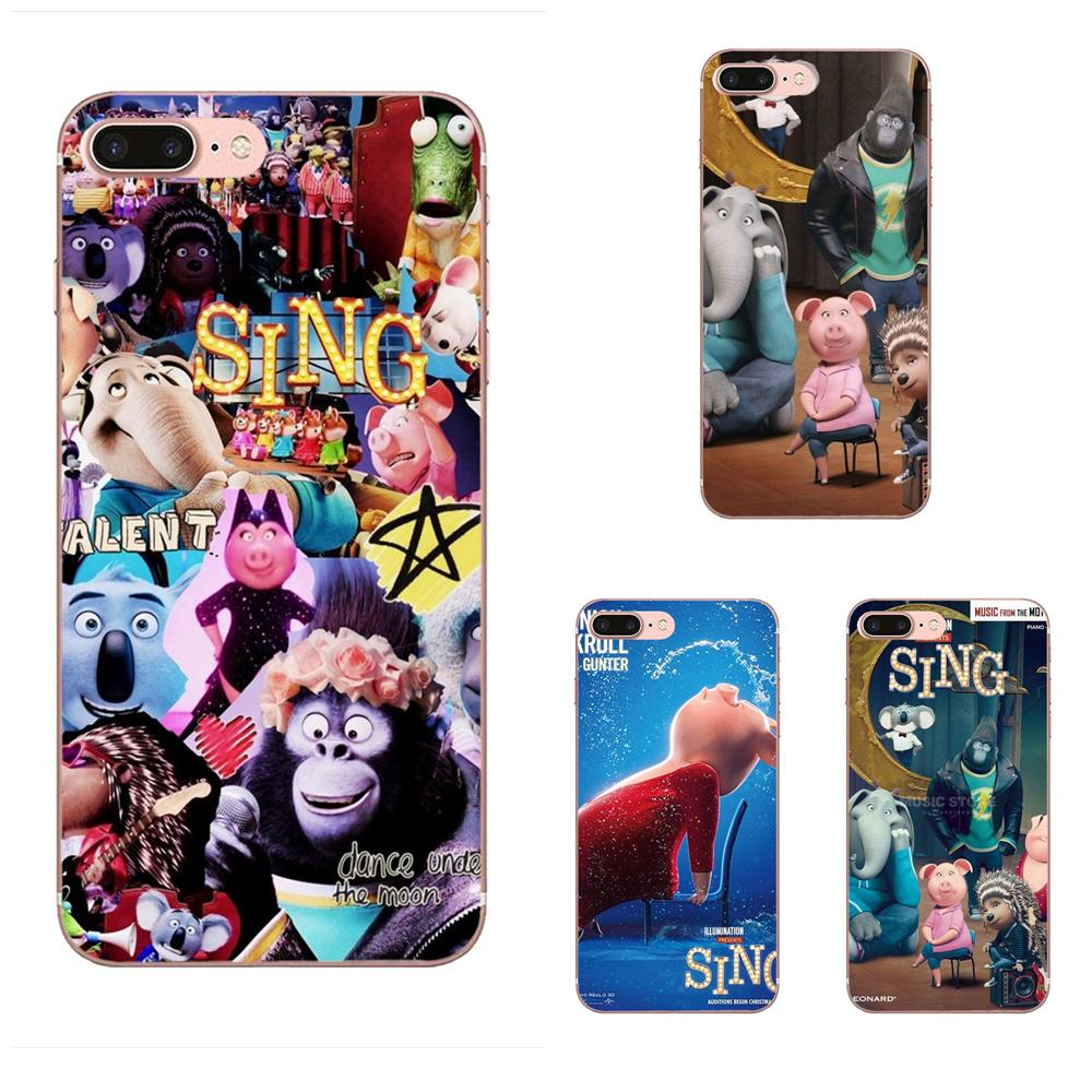 Cartoon Sing Movie Pig TPU Phone Cases For Galaxy A3 A5 A7 A8 A9 A9S On5 On7 Plus Pro Star 2015 2016 2017 2018 image