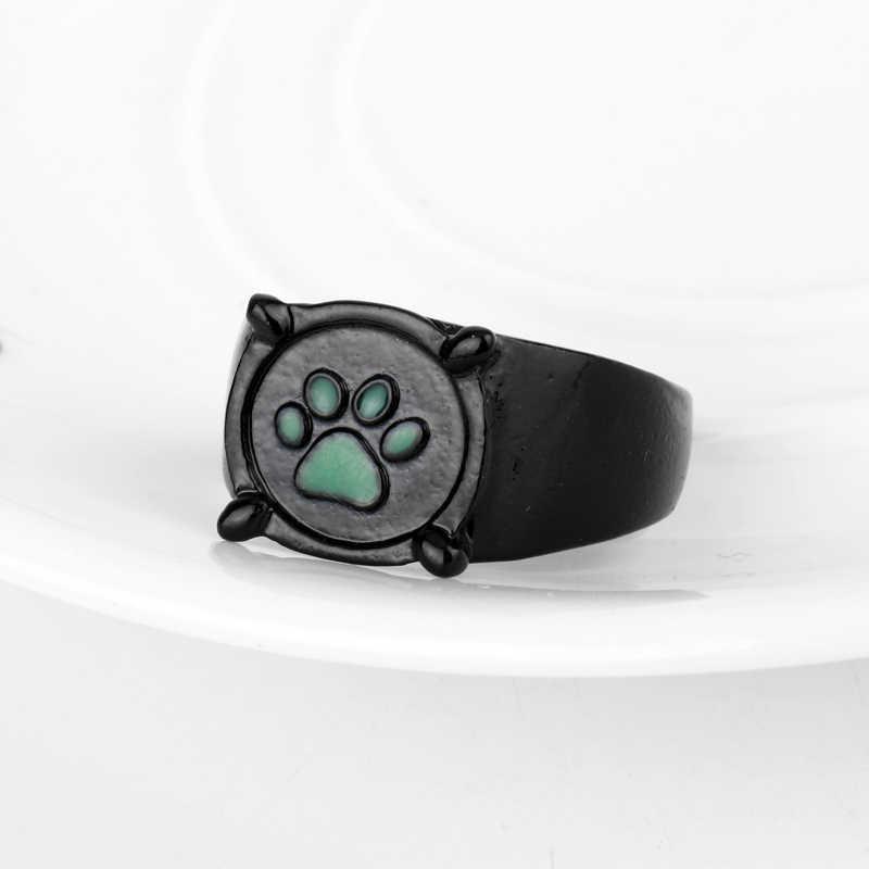 Светящееся Чудесное Кольцо Божья коровка для женщин и мужчин ювелирные изделия мультяшная фигура кошка Нуар зеленый Pawprint кольца модные аксессуары палец кольцо