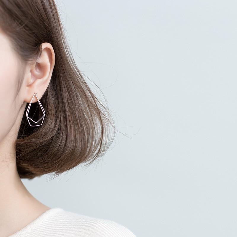 INZATT Real 925 Sterling Silver Irregular Pentagon Stud Earrings For Charming Women Minimalist Fine Jewelry 2019 Accessories