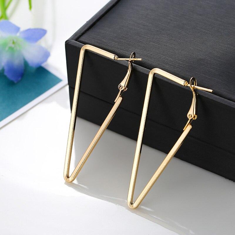 Женские золотые серьги в форме треугольника YANG & RH, вечерние сережки серебристого цвета в стиле панк, большие размеры, 3 размера