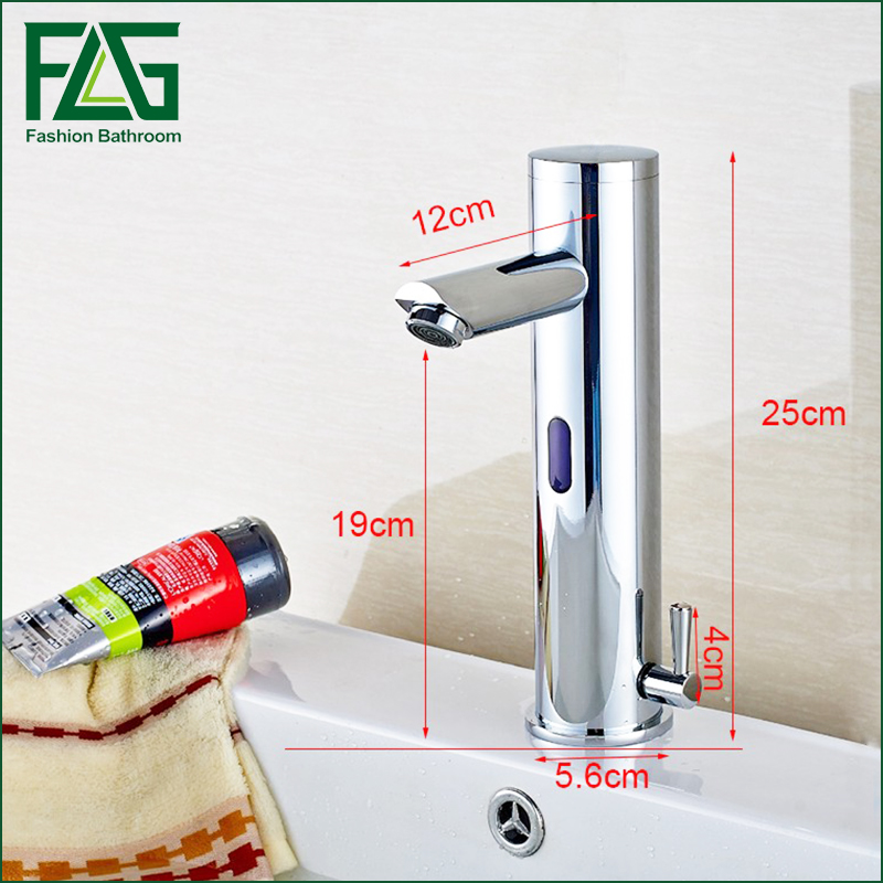 Design Hot And Cold Automatic Hands Touch Free Sensor Faucet Bathroom Sink Tap Brass Material Bathroom faucet in Basin Faucets from Home Improvement