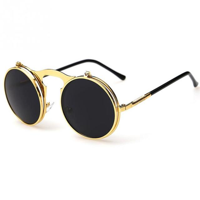 2018 New Vintage Steampunk Sunglasses round Designer steam punk Metal OCULOS  de sol women Sunglass Men a847bf6032