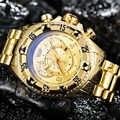 Relojes grandes TEMEITE deportivos dorados para hombre, marca superior de lujo, esfera 3D, calendario con espejo de Rayo Azul, relojes de pulsera de cuarzo a la moda para hombre 2019