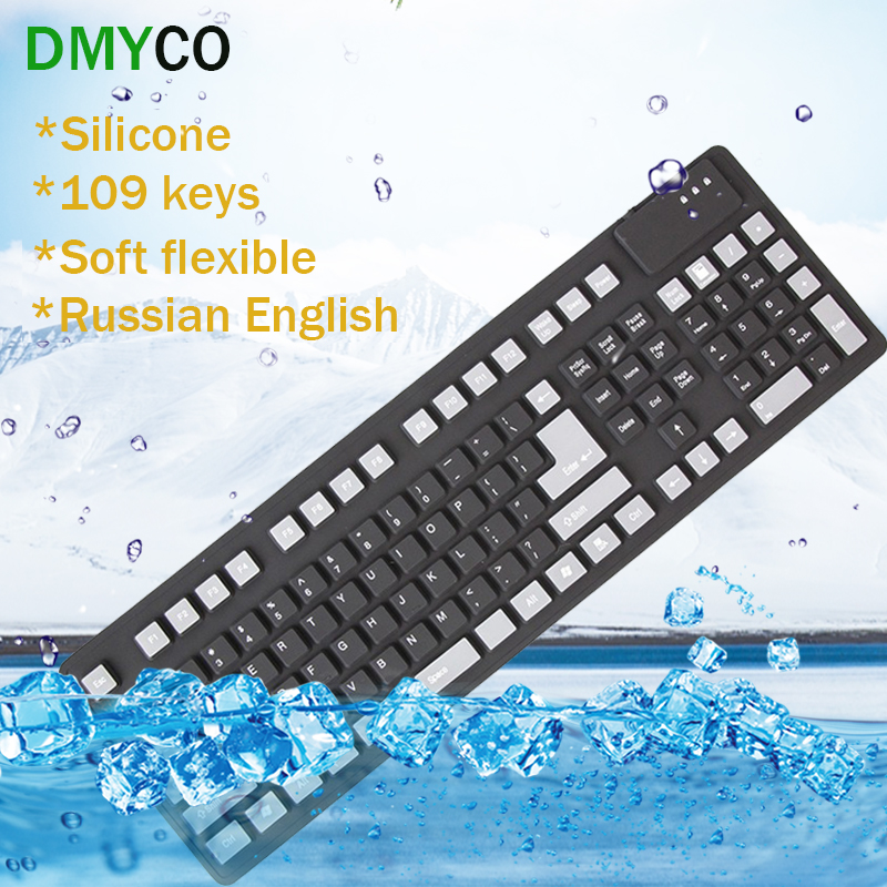 111keys Russian English Keyboards USB wired silicon soft portable gaming keyboard Teclado Layout Teclado for font