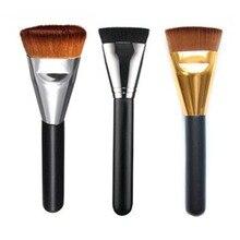 Mango rubor maquillaje profesional cepillo de contorno de cabeza plana negro carcasa de aluminio herramientas de maquillaje maquillaje de la ceja envío gratis