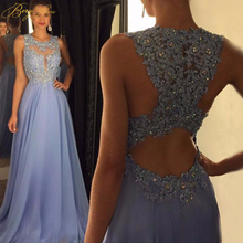 BeryLove Sexy O Neck A Line Chiffon Lace Appliques Beaded Light Blue Long Prom Dresses 2019 Court Train Gowns  vestido long