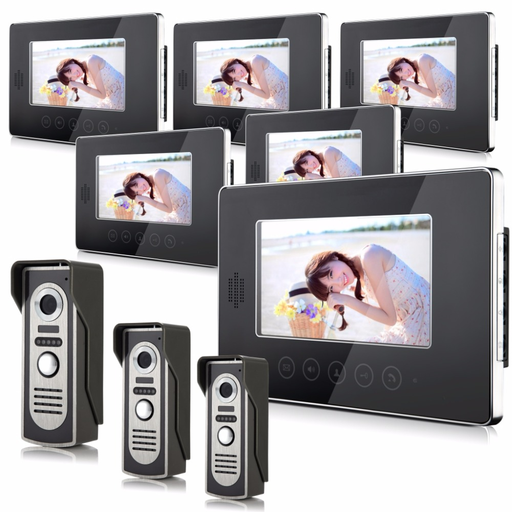 7 Inch  IR Night Vision Touch Keypad Wired Video Door Phone With 6 Monitor