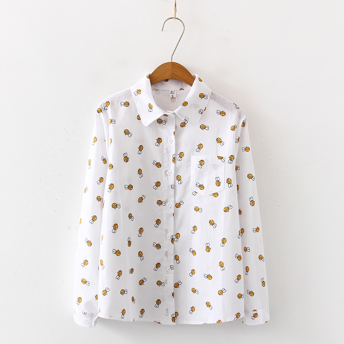 Women Autumn New Fashion Bees Print Cotton Blouses Shirts Casual Office Shirts Blouse