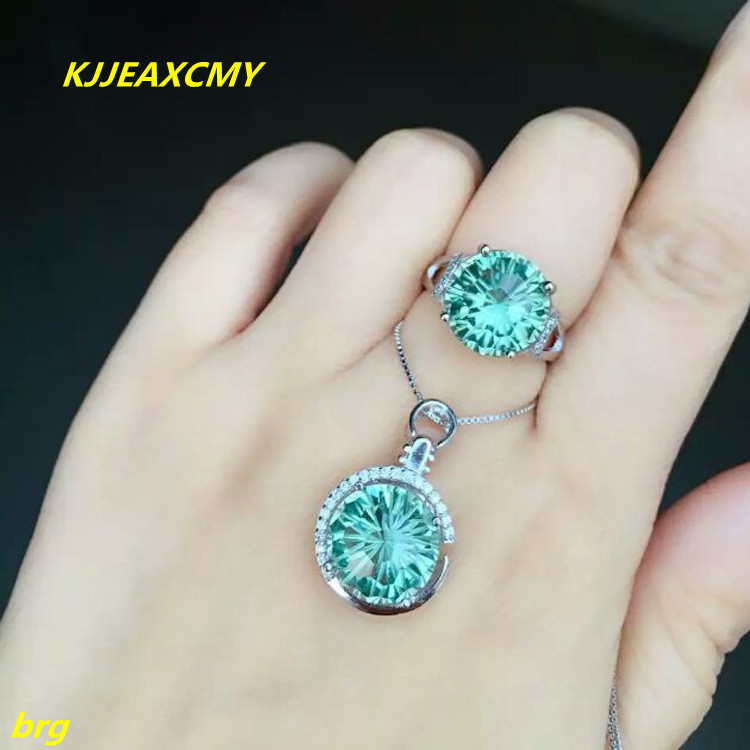 KJJEAXCMY Fine jewelry, 925 sterling silver inlaid green crystal ring plus pendant two ladies pieces