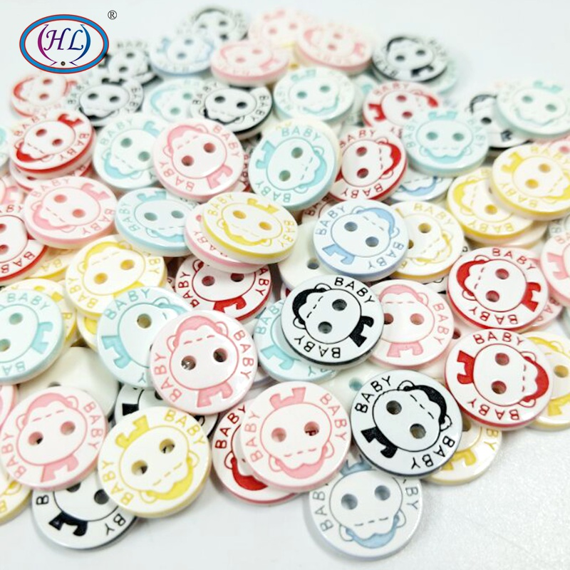 100Pc 2 Holes Mixed Floral Round Resin Buttons Scrapbooking For Baby Clothes
