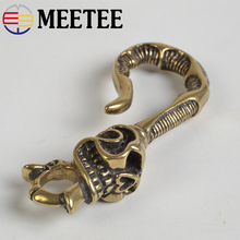 27*76mm Meetee Pure Copper Hook Buckle Solid Brass Skull Buckles for Waist Wallet Chain Keychain Accessories DIY Leather Craft