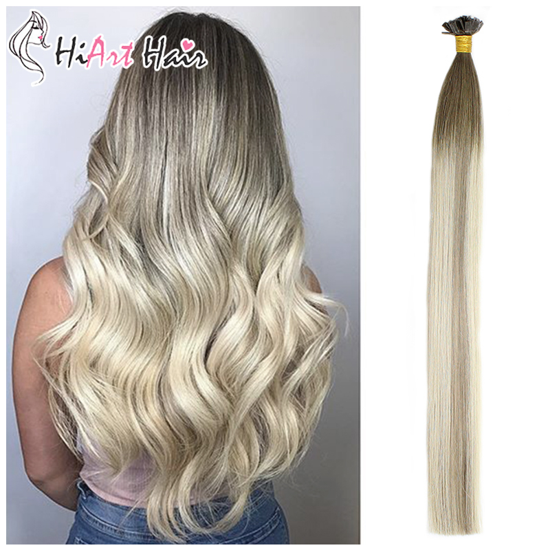 """HiArt 0.8g/pc Flat Tip Hair Extensions 100% Real Human Hair Balayage Double Drawn Salon Style Square Tip Hair Straight 18""""20""""22""""(China)"""
