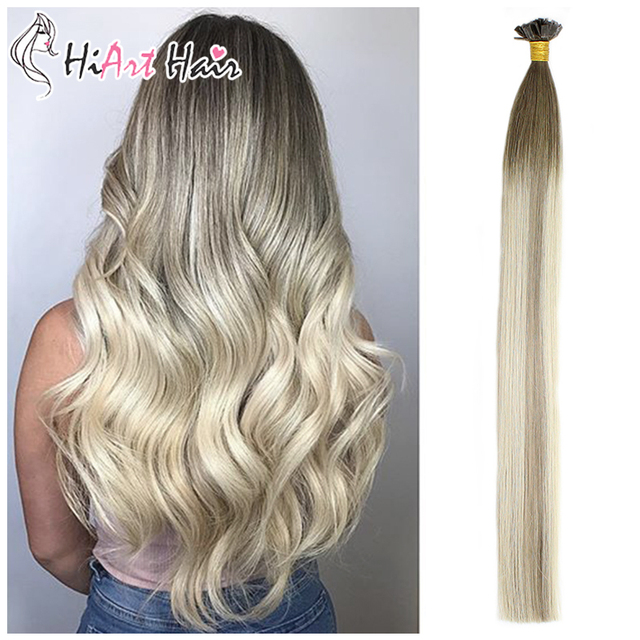 """HiArt 0.8g/pc Flat Tip Hair Extensions 100% Real Human Hair Balayage Double Drawn Salon Style Square Tip Hair Straight 18""""20""""22"""""""