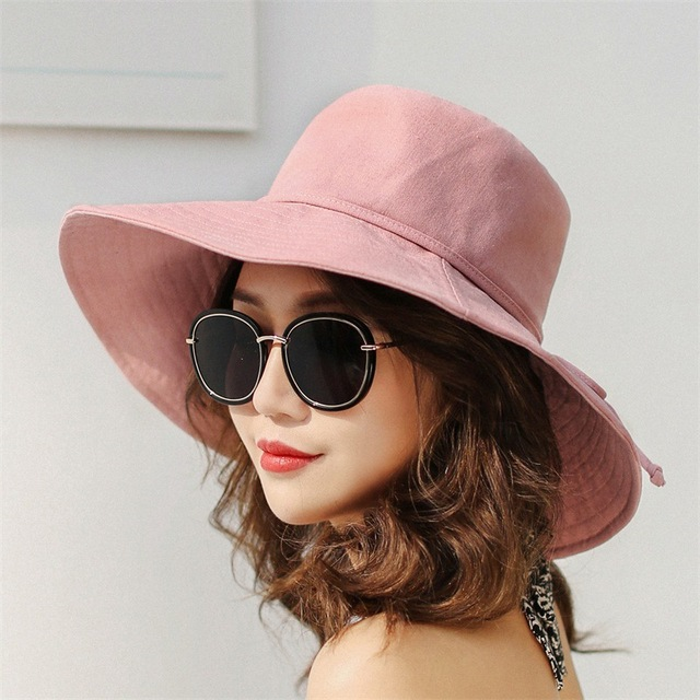 af0b6d6e0633d 2018 Summer Solid Color Cotton Sun Hats Large Brim Beach Sun Shade Hats  Adults Women Ladies Fashion Sun Cap UV Protection Hats